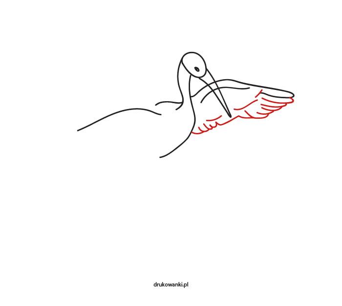rysunek bociana jak zrobić instrukcja dla dzieci