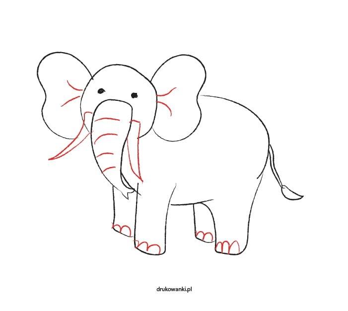 prosty rysunek słonia dla dzieci