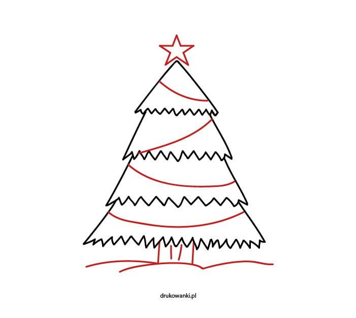jak narysować bożonarodzeniową choinkę