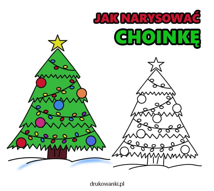 choinka bożonarodzeniowa jak narysować