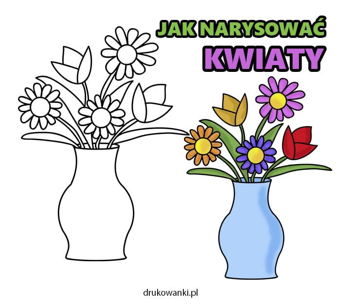 jak narysować wiosenne kwiaty w wazonie