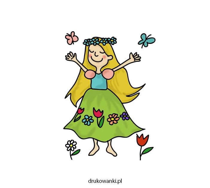kolorowy rysunek pani wiosny