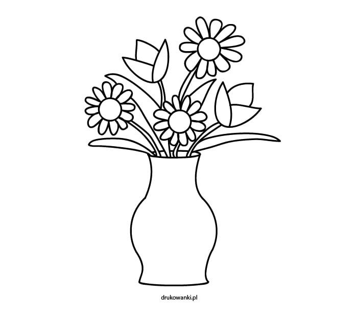 wiosenne kwiaty w wazonie rysunek