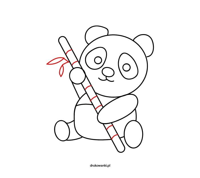 rysunek pandy z bambusem dla dzieci