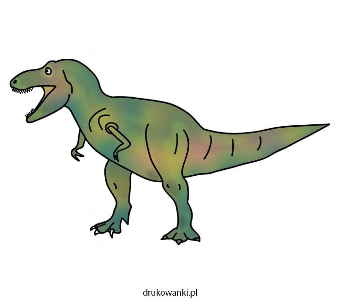 kolorowy tyranozaur rysunek dla dzieci