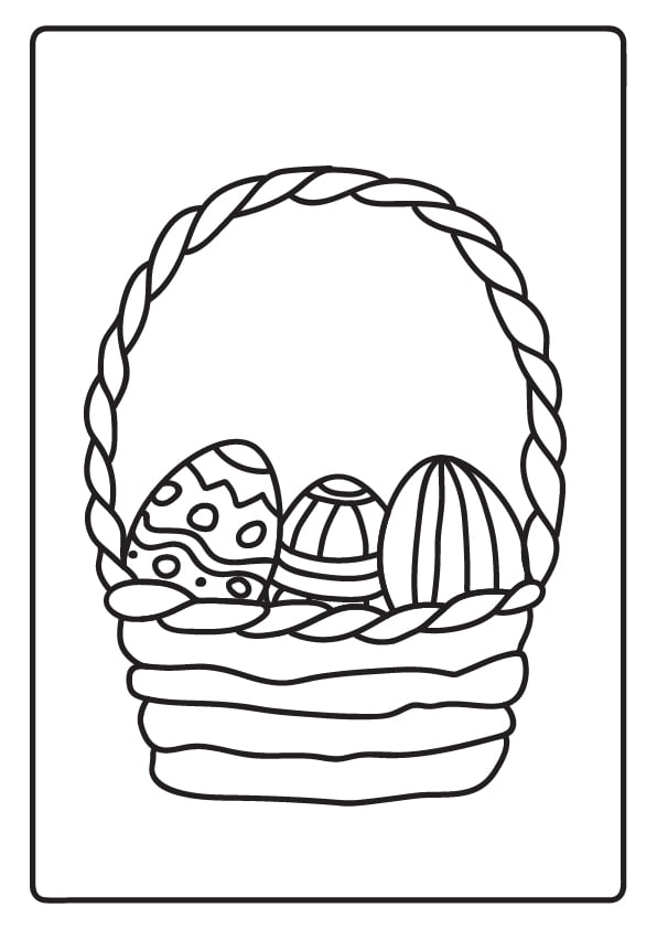 kolorowanki wielkanocne pisanki w koszyku