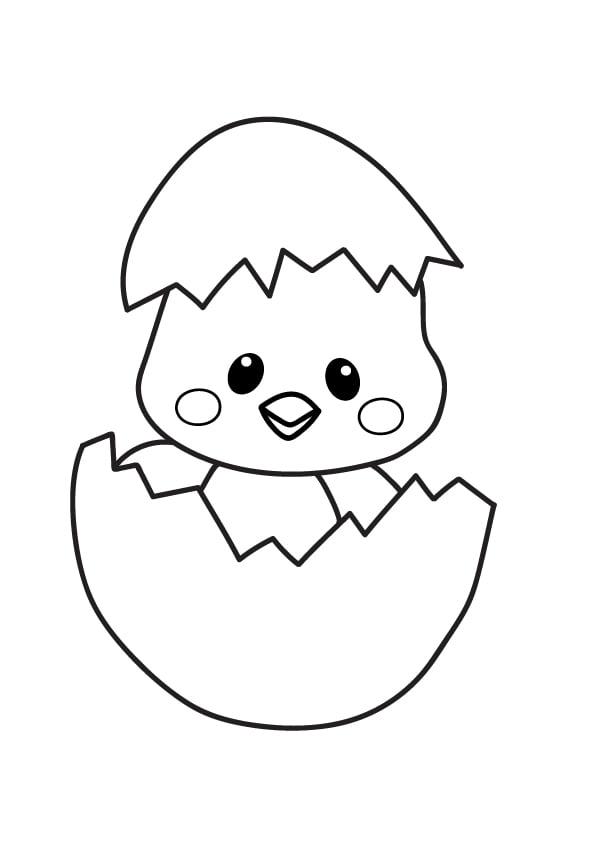 kolorowanka z kurczakiem na wielkanoc