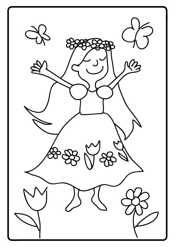 prosty rysunek pani wiosny do druku