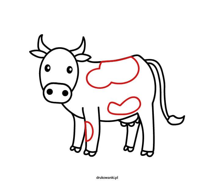 rysunek łaciatej krowy dla dzieci