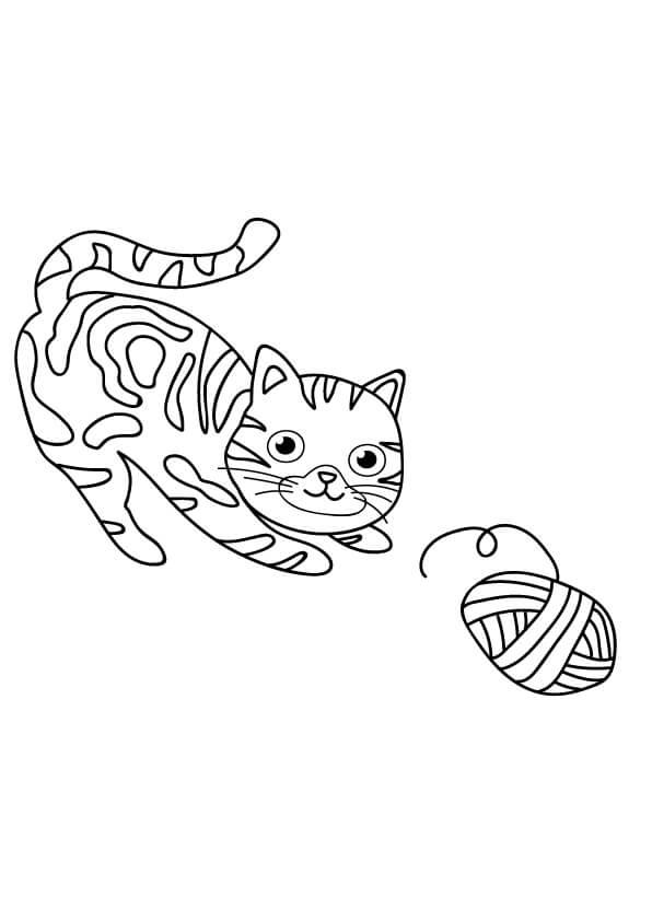 rysunek kotka z włóczką