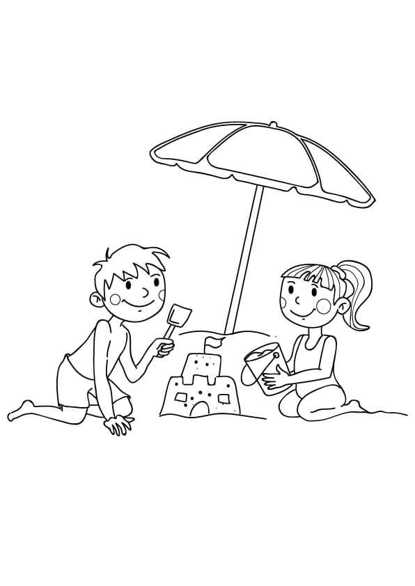plaża kolorowanka wakacje dla dzieci