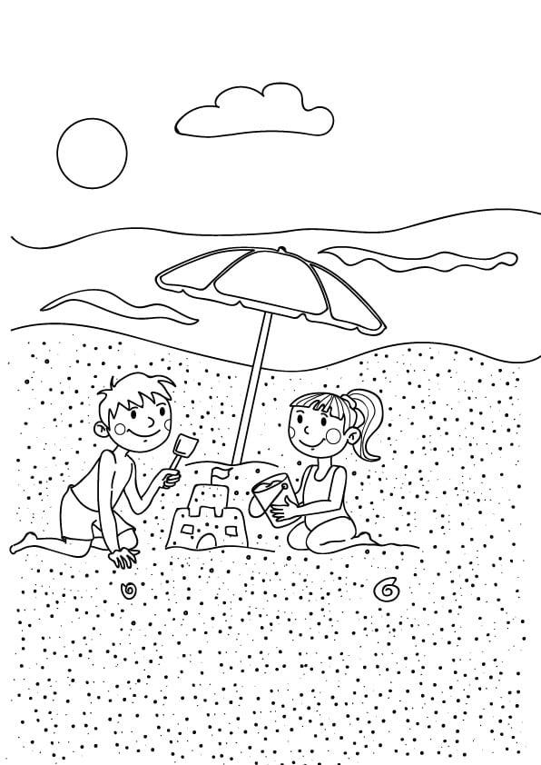 rysunek dzieci na plaży