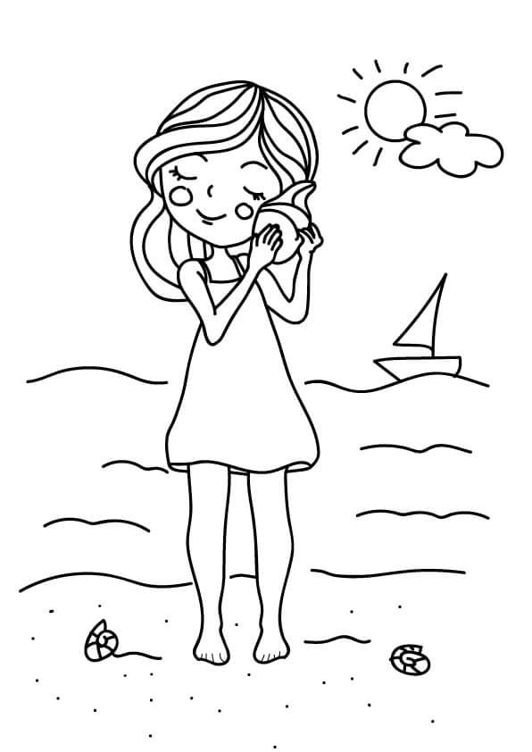 rysunek lato dziewczynka