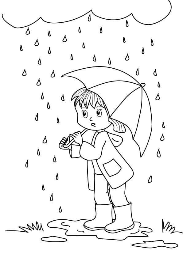 jesień rysunek dziecko z parasolką