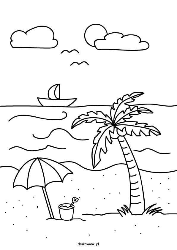 plaża rysunek kolorowanka