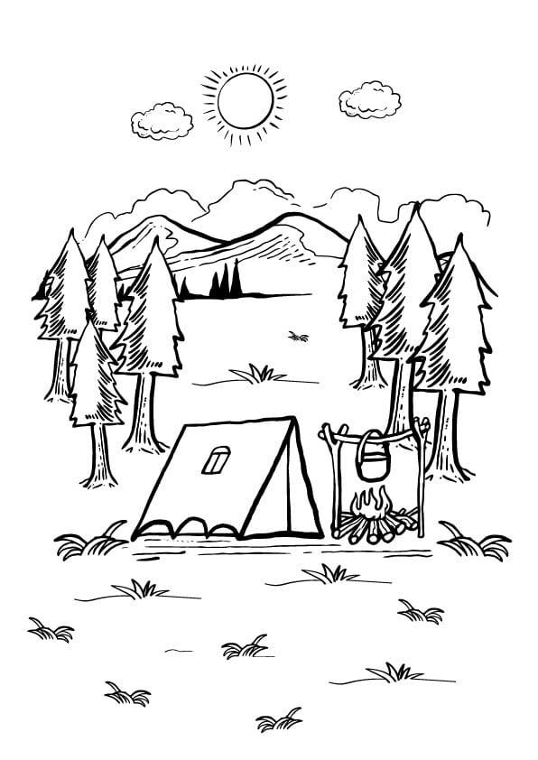 kolorowanka wakacje pod namiotem