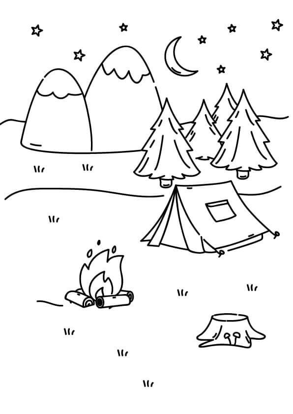 wakacje kolorowanka camping