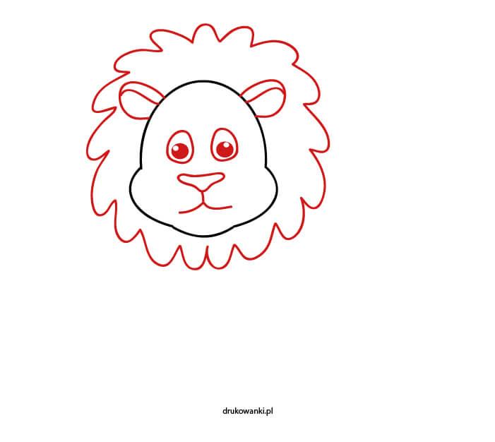 głowa lwa rysunek dla dzieci