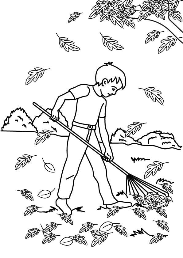 kolorowanka grabienie liści