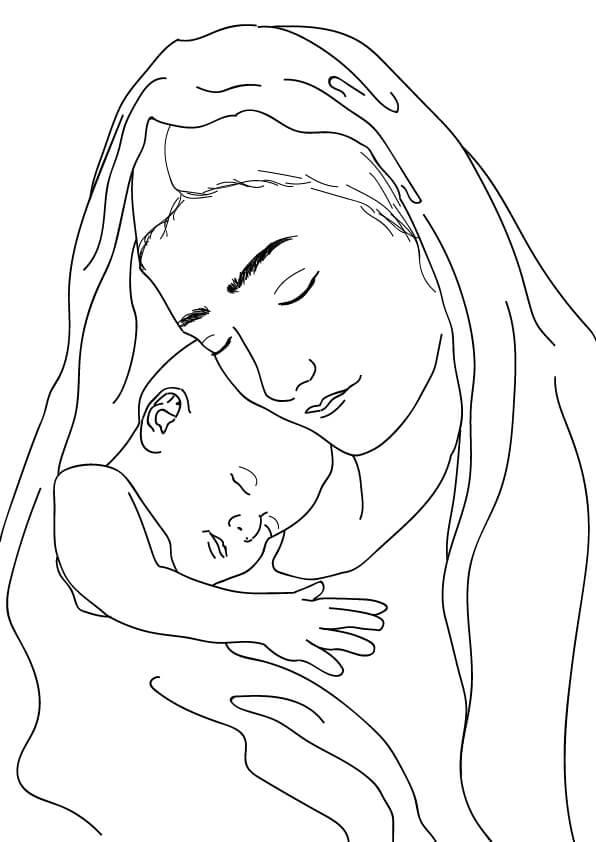 kolorowanka maryja i mały jezus