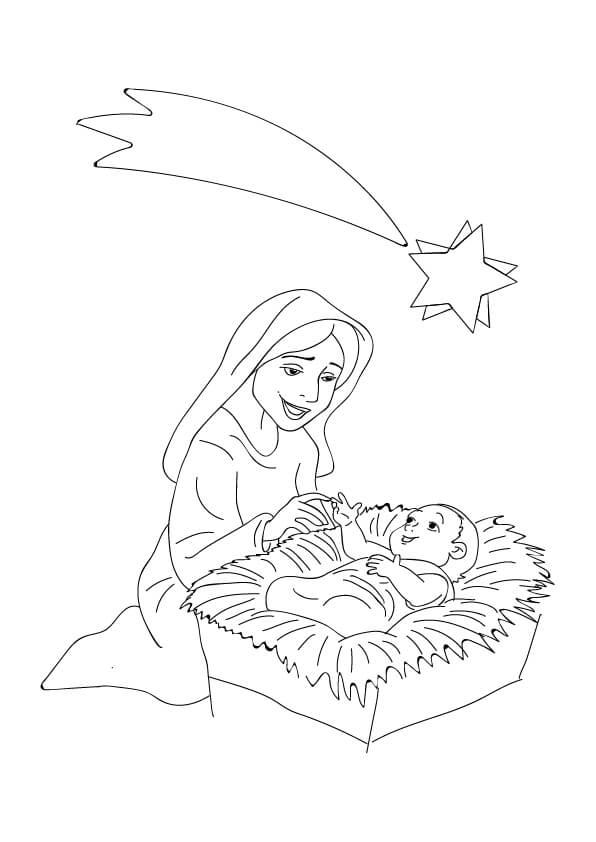 jezus w żłobku z maryją rysunek